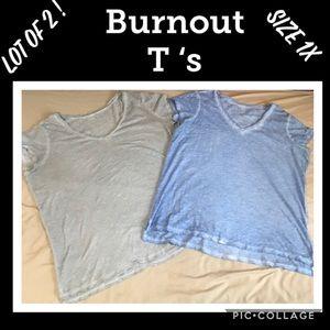 Lot of 2 Women's Size 1X Burnout T-shirts
